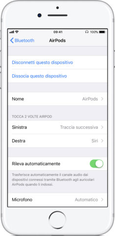 Apple AirPods schermata preferenze