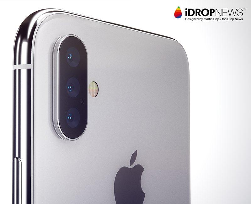 iphone 2019 con tripla fotocamera, rendering di Martin Hajek