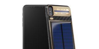iphone x Tesla, foto iPhone X tesla con pannelli solari sul retro