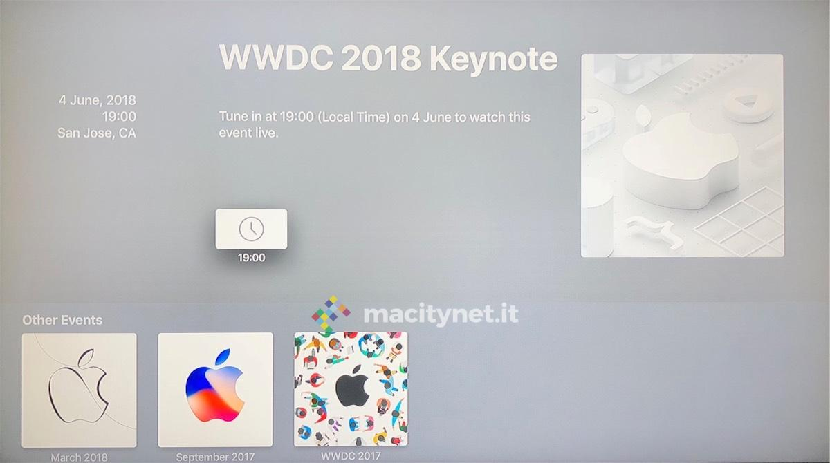 keynote wwdc 2018, Apple aggiorna Apple Events per vedere il keynote WWDC 2018 su Apple TV