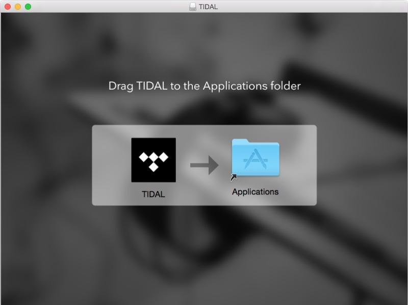 tidal app desktop, foto schermata installazione tidal su mac