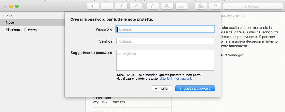 Proteggere le Note sul Mac
