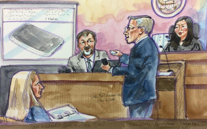Apple contro Samsung, foto disegno apple contro samsung in aula di tribunale