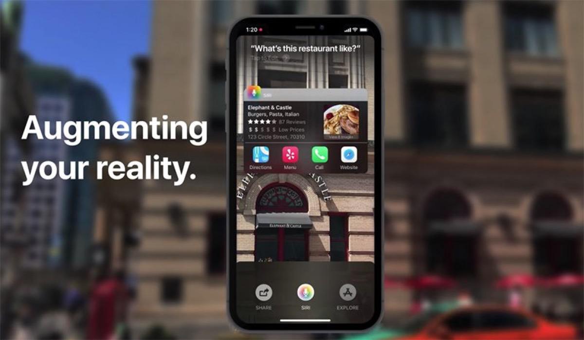 ios 12 concept con Siri Sight la Realtà Aumentata per scoprire il mondo nel concept di iOS 12