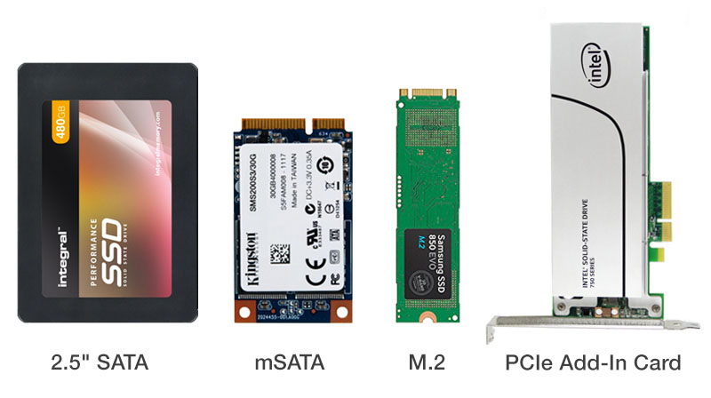 Form factor vari di alcune unità SSD