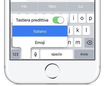 tastiera produttiva l'opzione della tastiera di iPhone