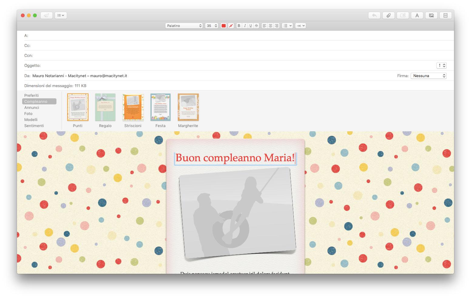 Con Mail integrato fino a macOS 10.13 è possibile scrivere un nuovo messaggio partendo da modelli personalizzati. Una funzionalità sparita da Mail per macOS Mojave