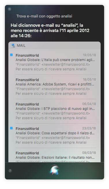 Trova email con Siri