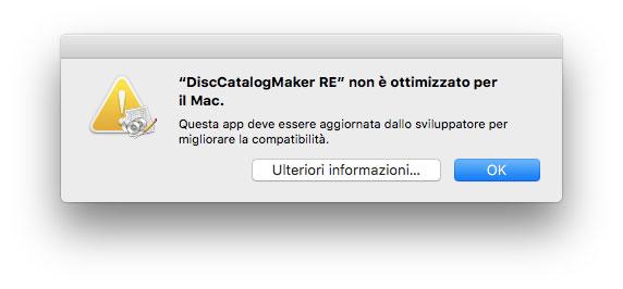 Esempio di avviso che compare quando si avvia un'app a 32 bit su macOS 10.13.4