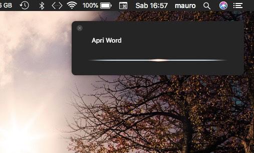 Apri Word con Siri