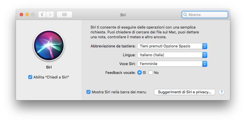 Attivare Siri sul Mac