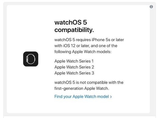 Compatibilità watchOS 5