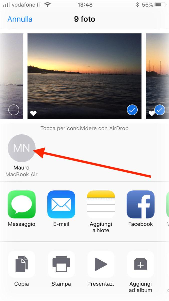 Condividere un file con AirDrop da iOS