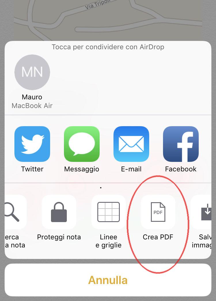 Crea PDF da note
