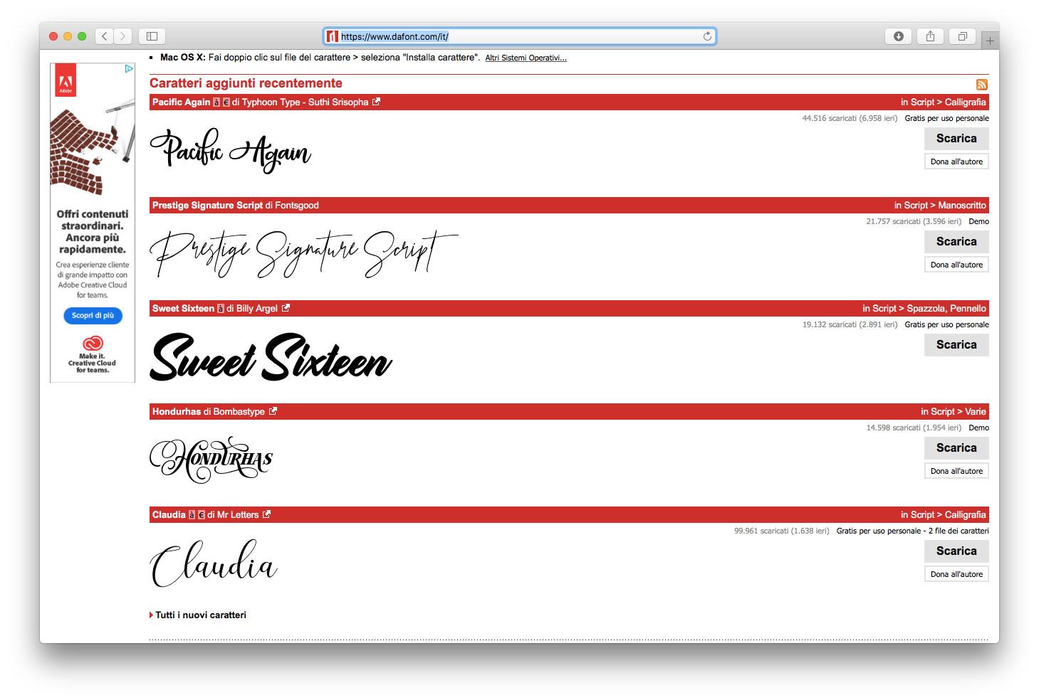 La home page di Dafont