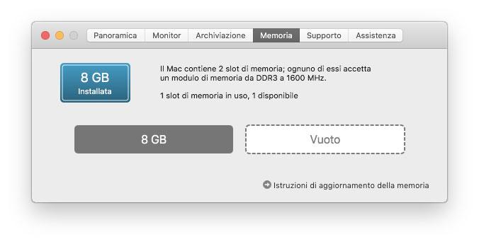 Mac lento, meglio più memoria