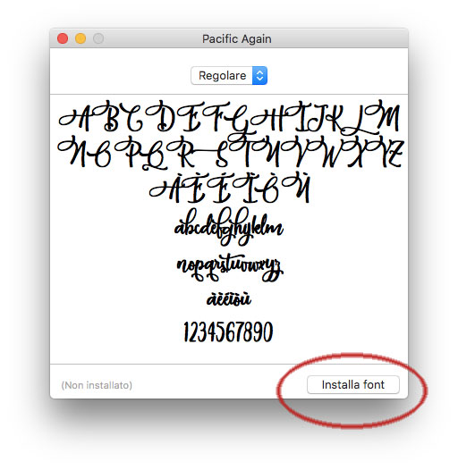 Installare un font