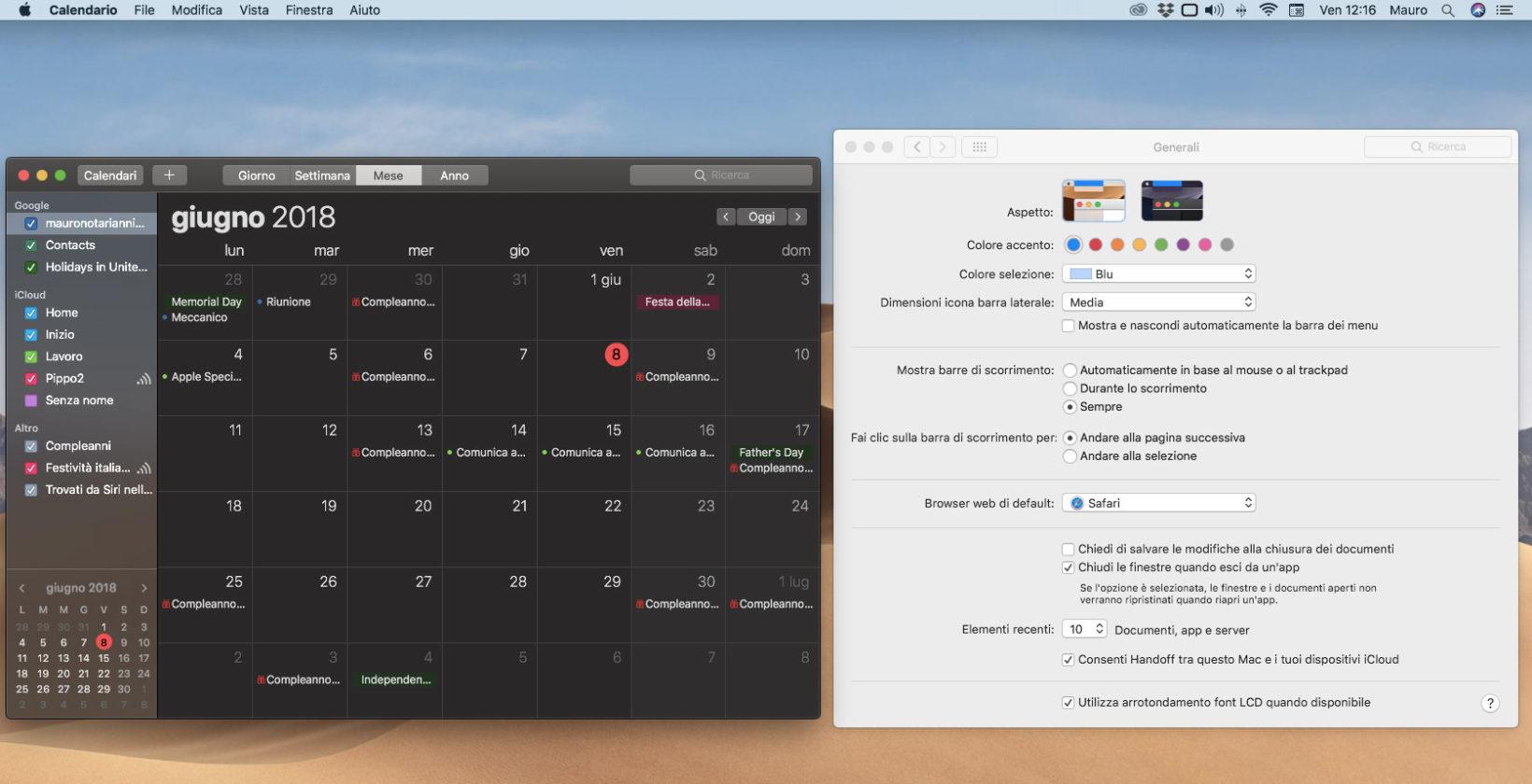 L'applicazione Calendario con l'effetto Dark