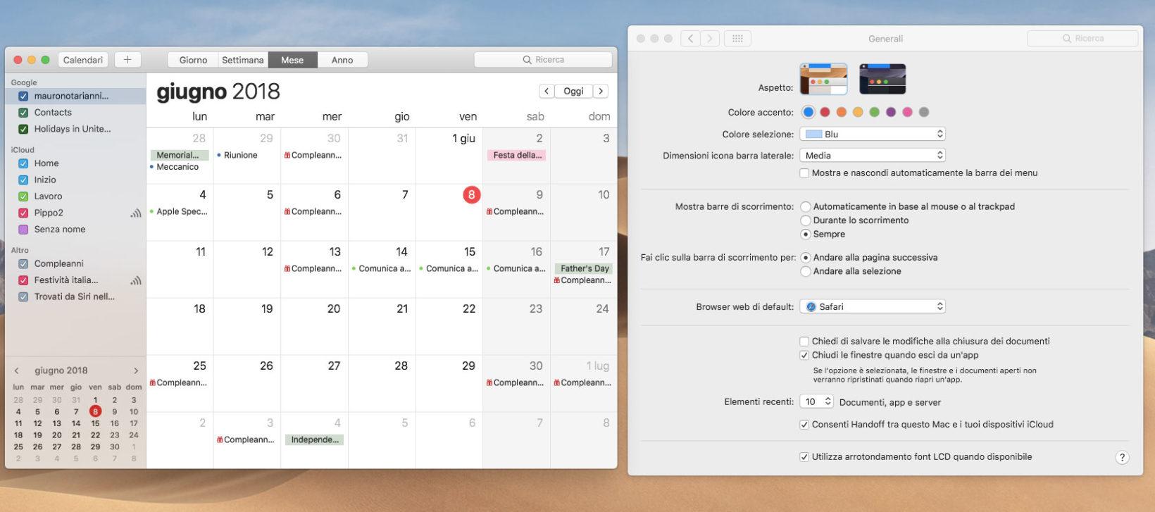 L'applicazione Calendario senza l'effetto Dark