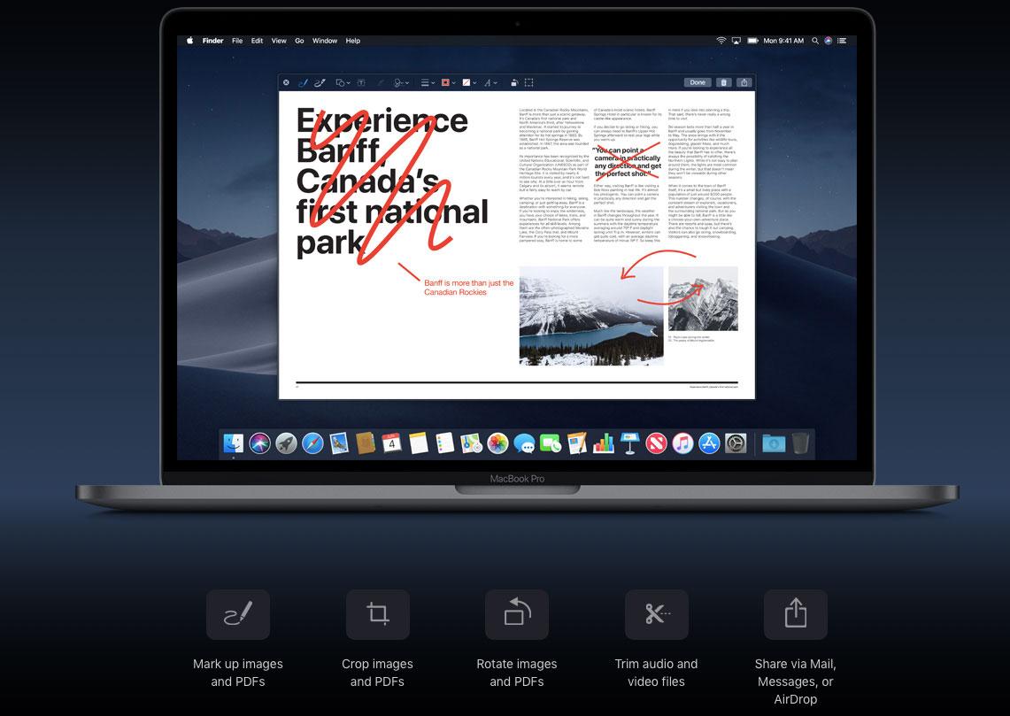 Nuove funzioni QUickLook di MacOS Mojave