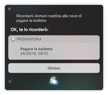 Ricordare le cose con Siri