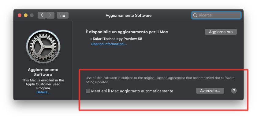 macOS 10.14 Mojave aggiornamento software