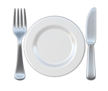 Piatto con forchetta e coltello