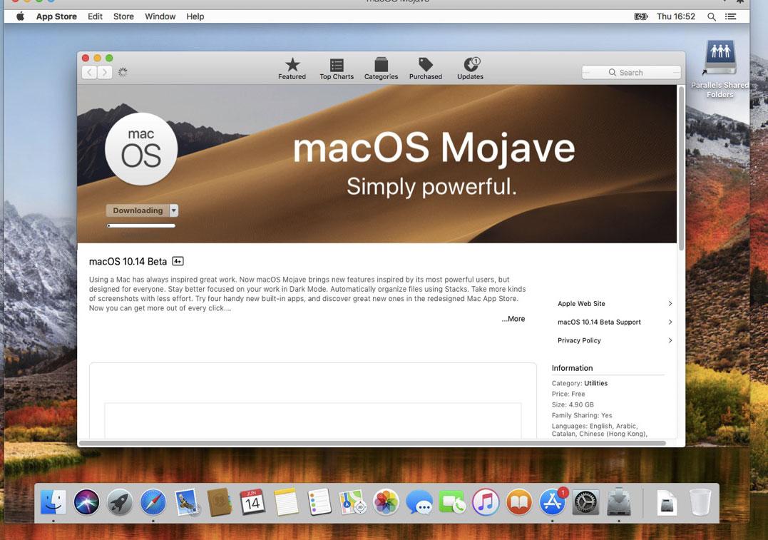 Scaricamento macOS Mojave dal Mac App Store