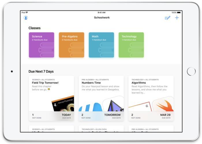 Apple rilascia Schoolwork l'app che trasforma iPad in registro e diario di classe