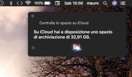 Spazio si iCloud con Siri