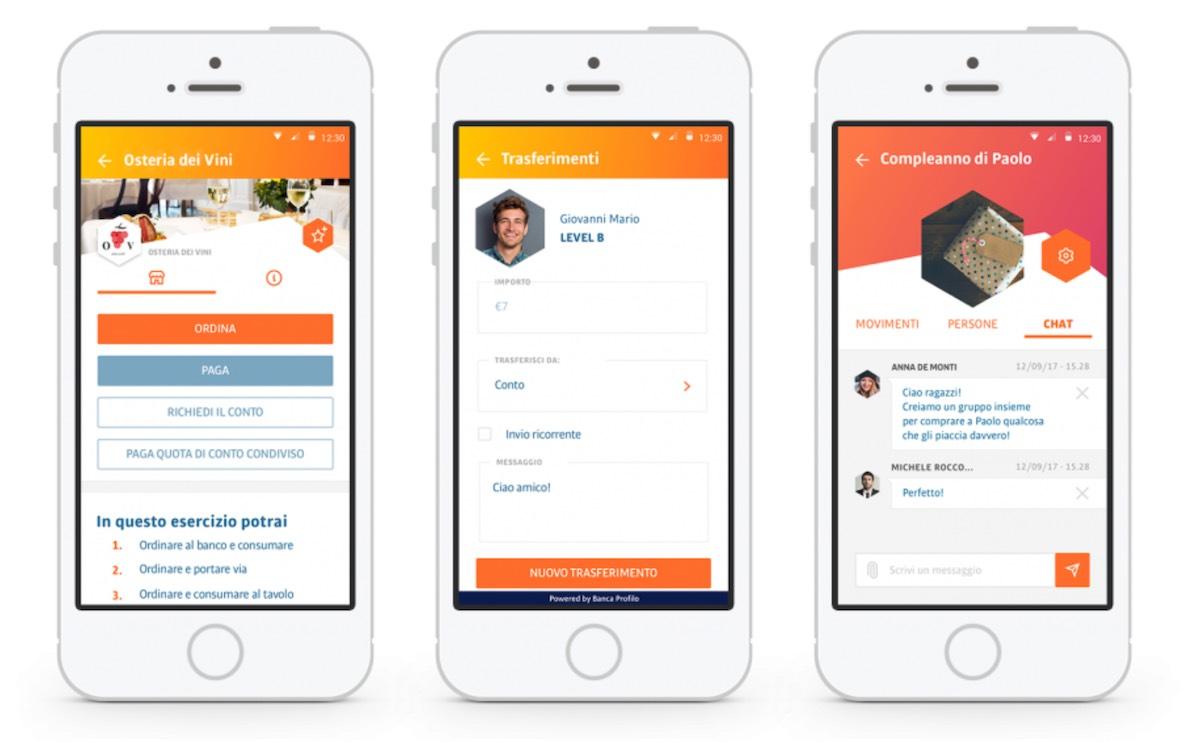 tinaba foto schermate funzione app per trasferimenti denaro, raccolte, divisione