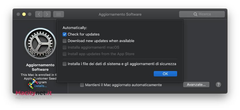 Aggornamento macOS 10.14 Mojave