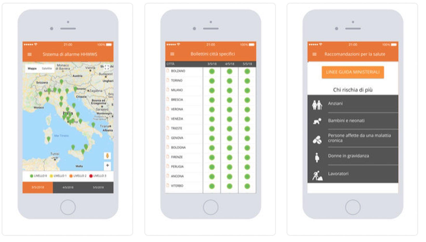 Il bollettino delle ondate di calore a portata di iPhone con Caldo e Salute, l'app del ministero