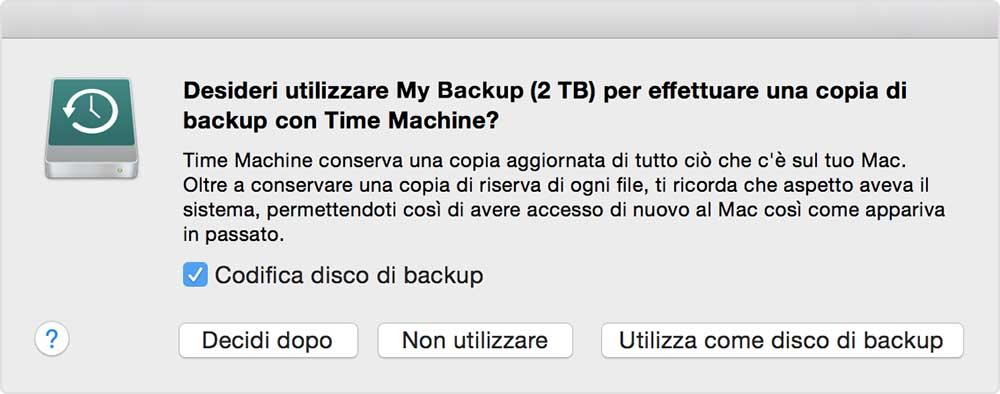 Esempio di messaggio che appare quando si collega un nuovo disco al Mac