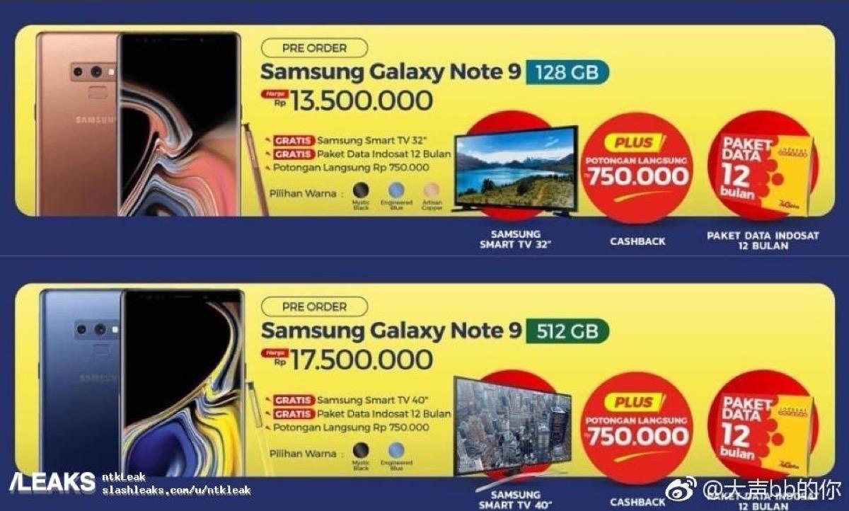 Prezzo Galaxy Note 9 svelato da un volantino