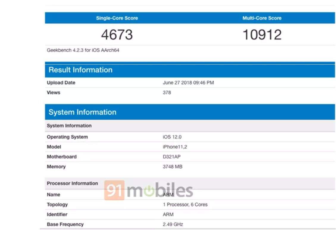 Il nuovo iPhone X su Geekbench con 4GB di RAM e iOS 12