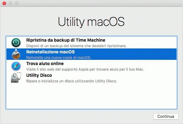 L'utility macOS Recovery consente, tra le altre cose, di effettuare il ripristino completo da un backup di Time Machine