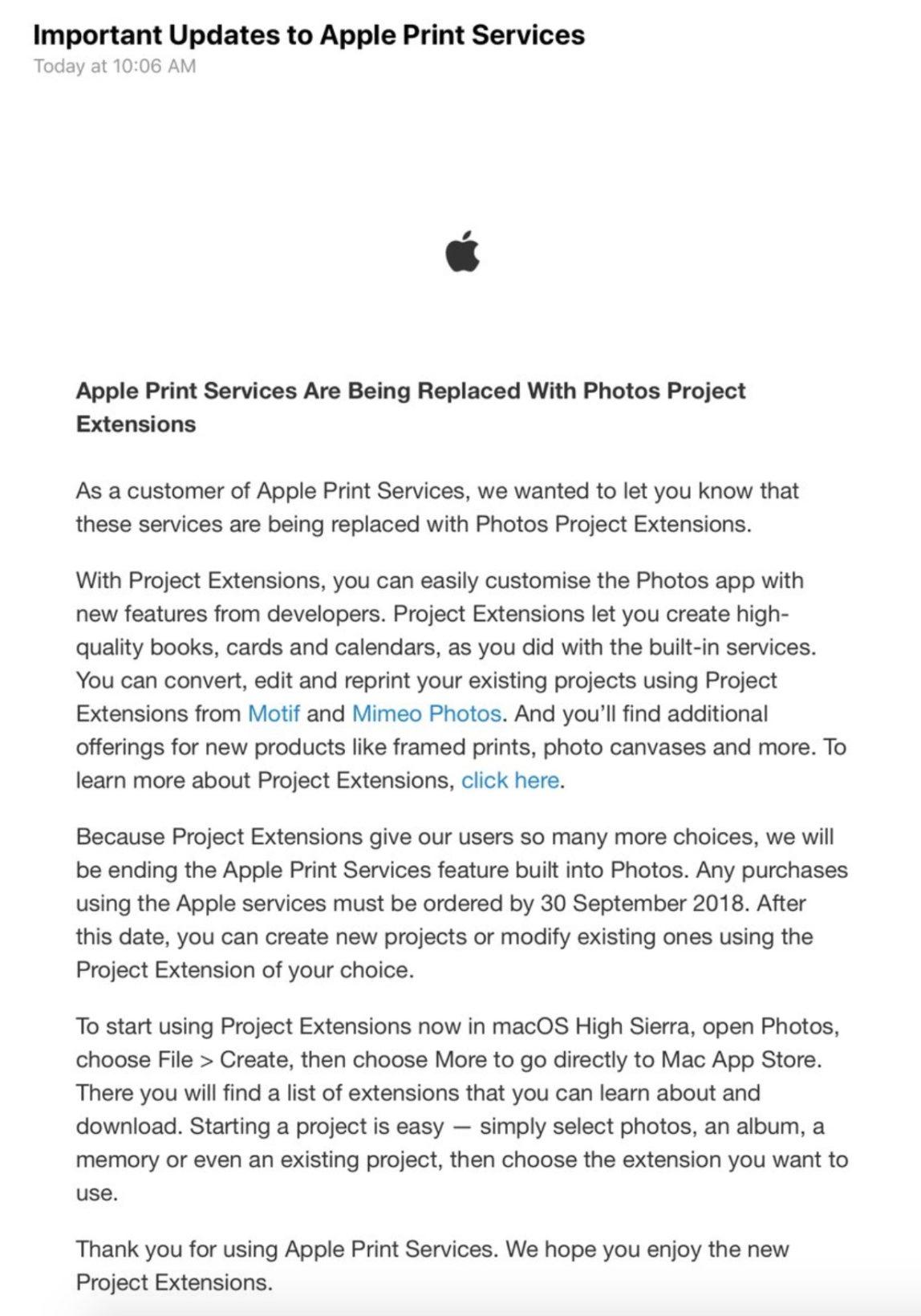 Il servizio di stampa foto Apple chiude, la società suggerisce le alternative