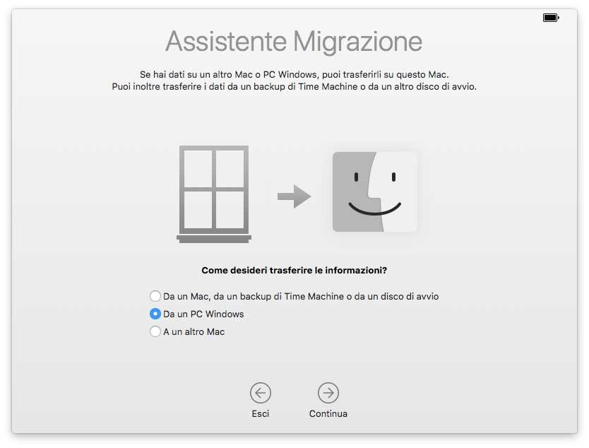 Assistente Migrazione da Windows
