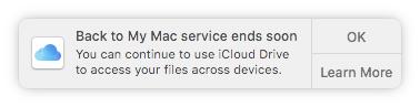 Notifica fine supporto Back to my Mac