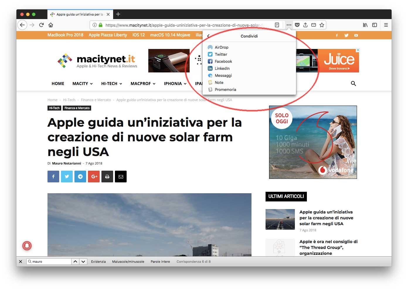 Pulsante Condivisione in Firefox