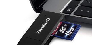 KiWiBiRD, il lettore di schede SD e microSD con doppia spina USB e USB-C