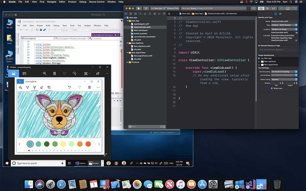 Xcode e Visual Studio fianco a fianco in macOS Mojave