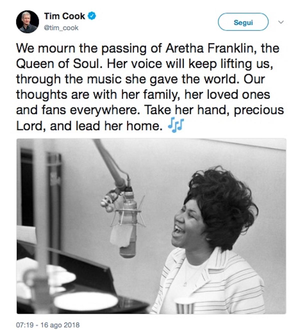 Tim Cook rende omaggio ad Aretha Franklin con un tweet