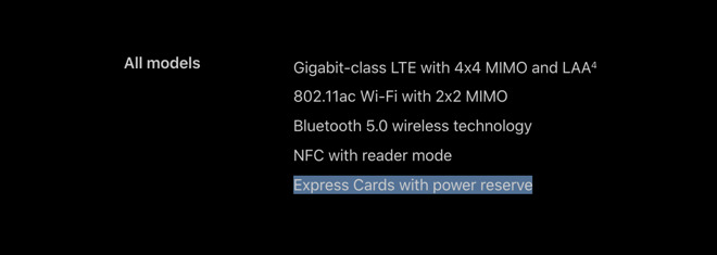 NFC Express Card - modalità evidenziata nel keynote di Apple