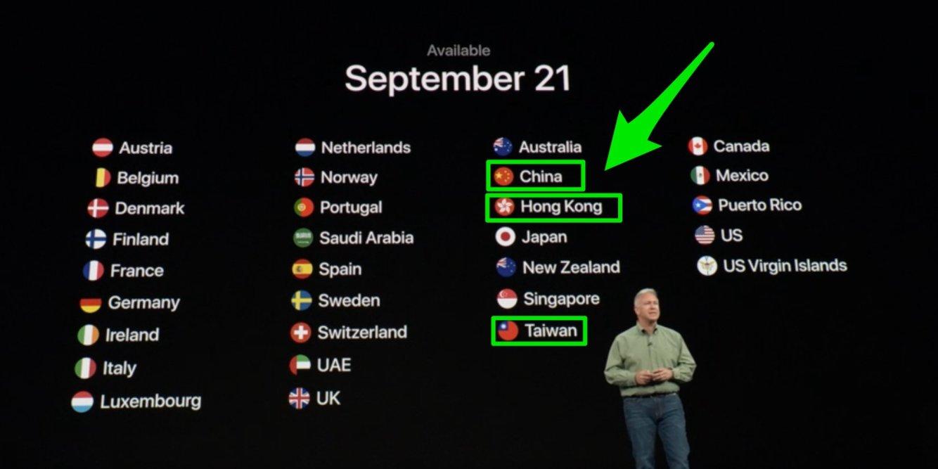 "La slide ""incriminata"" mostrata da Philip Schiller, Senior Vice President of Worldwide Marketing Apple. Foto: Business Insider"