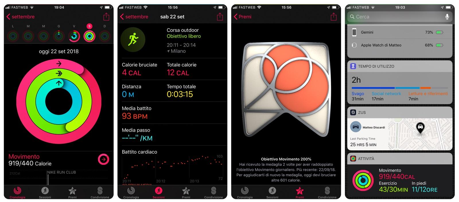 L'app attività di apple watch 4