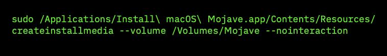 Comando per creare la chiavetta USB di Mojave dal Terminale