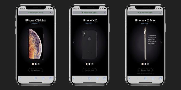 iPhone XS in 3D nel microsito Apple: si gira inclinando lo smartphone
