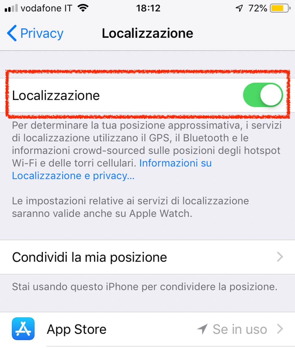Attivare o disattivare i servizi di localizzazione e GPS.